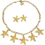 Estate Nautical Dangling Charm Starfish Necklace & Earrings