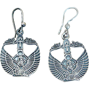 Estate Sterling Silver Egyptian Revival Isis Drop Earrings