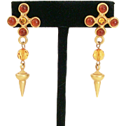 Vintage 1990's Etruscan Satin Gold Tone Drop Cabochon & Crystal Post Back Earrings