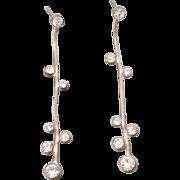 Sterling Silver Omega Chain Bezel Set Rhinestones Long Dangle Post Back Earrings ~ Comets in the Night Sky