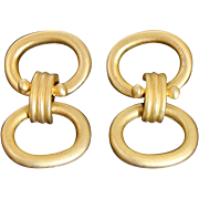 Bold 1980's Satin Finish Gold Gilt Etruscan Revival Dangling Post Back Earrings