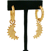 Vintage Bold 1980's Satin Gold Gilt Hanging Hoop Moon Post Back Earrings