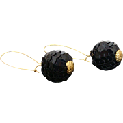 1980's Long Drop Black Sequined Ball Gold Accent Dangle Earrings
