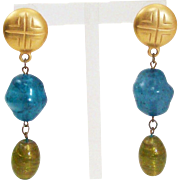 Vintage 1980's Satin Finish Gold Gilt Long Dangling Etruscan Earrings