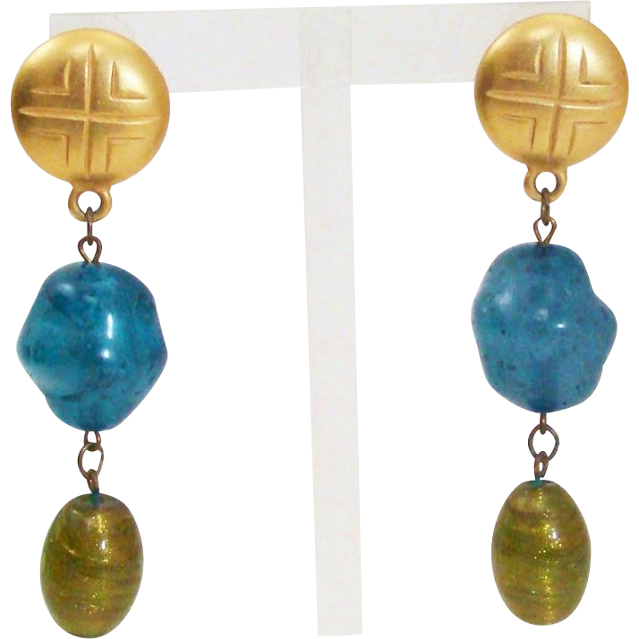 Vintage 1980's Satin Finish Gold Gilt Long Dangling Etruscan Earrings