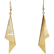 1980's Runway Statement Folded Drop Earrings