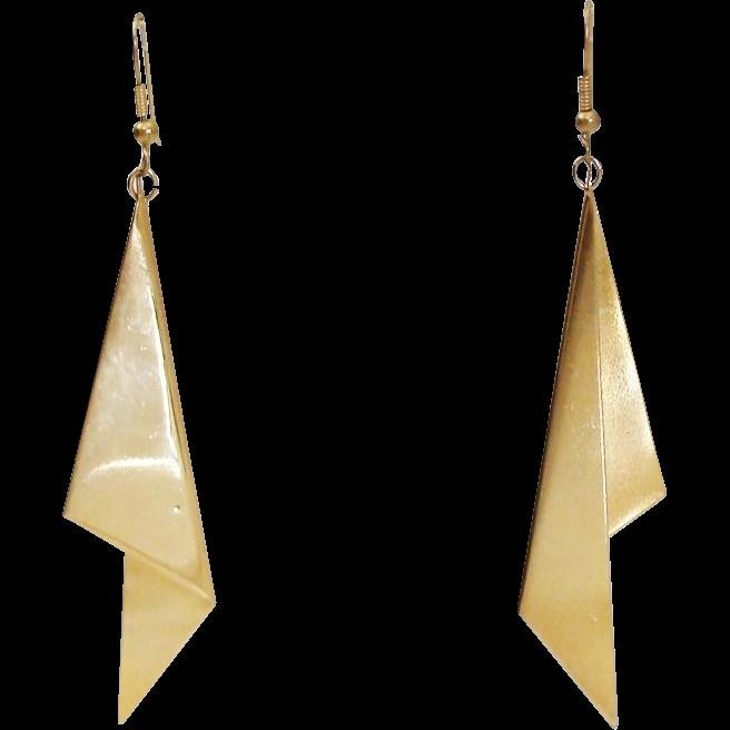 1980's Runway Statement Folded Drop Earrings
