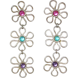 Vintage 1980's Flower Power Dangling Earrings