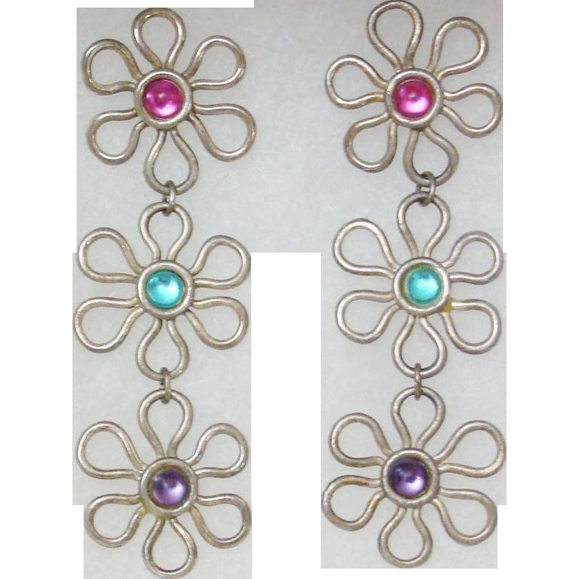 Vintage 1980's Flower Power Dangling Earrings