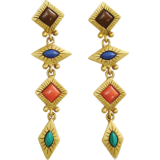 1980's Long Dangling Shoulder Sweepers Earrings