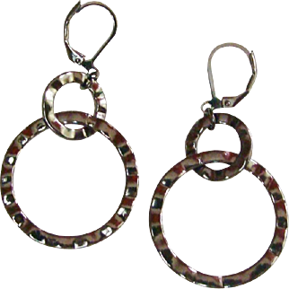 Vintage 1990's Gun Metal Grey Double Hoop Dangling Earrings