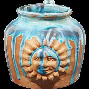 Folk Art Terra Cotta Drip Glaze Pottery Sun Face Jug