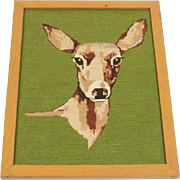 Hand Stitched Framed Needlepoint of a Doe ~ Deer