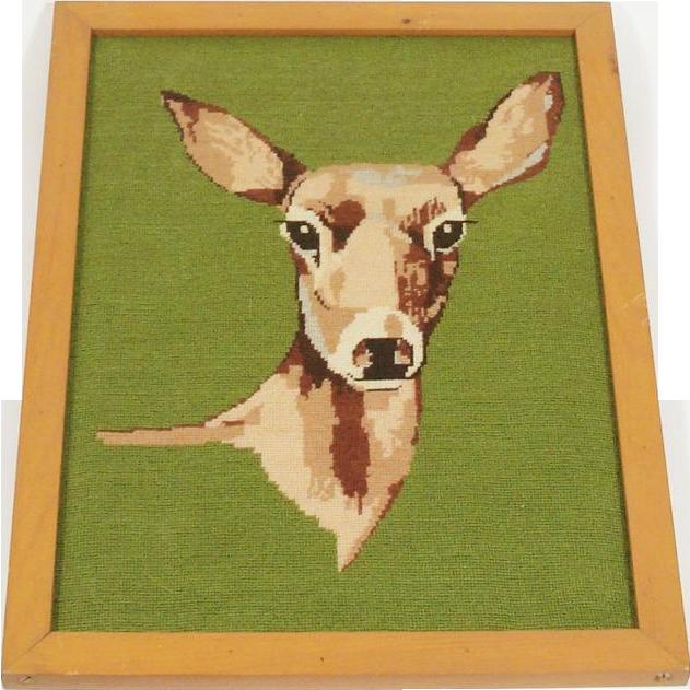 Hand Stitched Framed Needlepoint of a Doe ~ Deer
