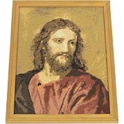 Hand Stitched Framed Needlepoint of Our Savior Jesus Christ