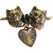Victorian Revival Cat ~ Rose ~ Dangling Heart Charm Pin Brooch