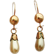 1930's 10K Rose Gold Filled & Faux Pearl Drop Earrings on Original Card