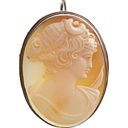 Diana Artemis Greek Goddess Carved Shell Cameo in 925 Silver Pendant ~  Brooch