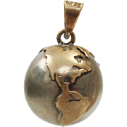 Sterling Silver Puffy Ball ~ World Globe Fairy Bell Chime Pendant
