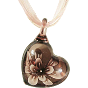 Romantic Art Glass Lampwork Heart Flower Pendant on Shimmering Pink Ribbon Necklace