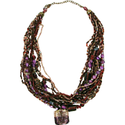 Bold Upcycled One of Kind Statement Multi Strand Glass Lampwork Beaded Necklace with Dichroic Glass Drop Pendant