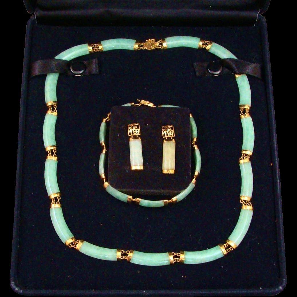 Jade Jadeite 14K Gold Designer Signed Complete Set Hong Kong ~ Rare Find