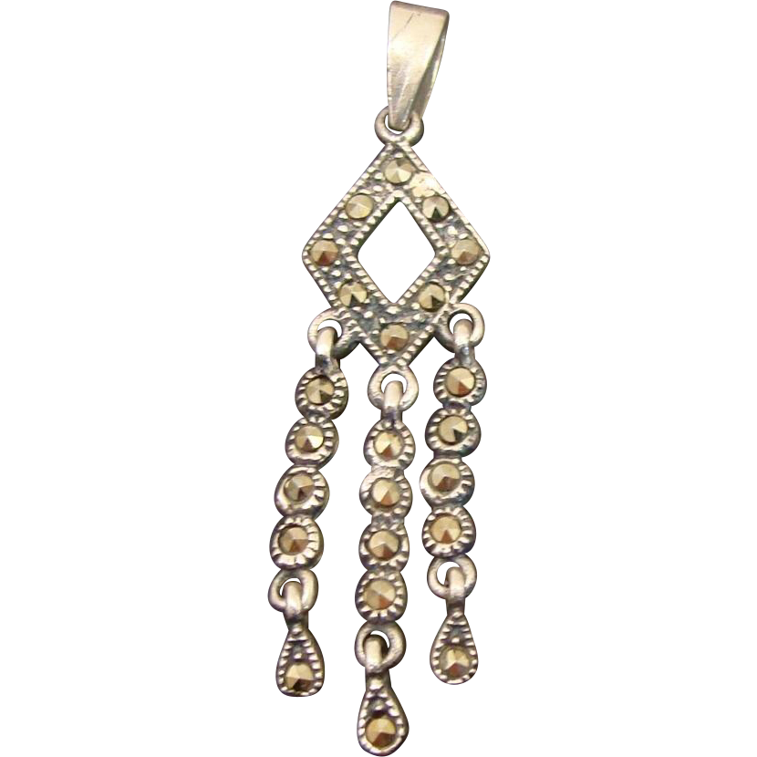 Art Deco Style Sterling Silver Marcasite Dangling Pendant