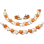 Vintage Signed Amber Orange Tulip Flower & Leaves Thermoset Parure by STAR