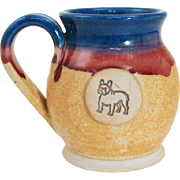 French Bulldog Club of America 1996 Trophy Hand Thrown Dripware Pottery Mug