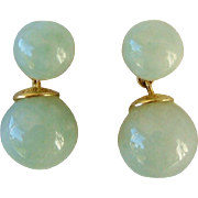 Fine 14K Yellow Gold Jade Estate Ball Dangle Drop Post Earrings