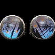 Natural Butterfly Wing Reverse Painted Bezel Set Earrings