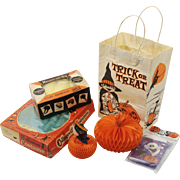 Vintage Halloween Collection of Goodies ~ Black Cat ~ Witch ~ Pumpkin ~ Jack O Lantern ~ Bags