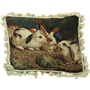 Large Luxurious Wool Bunny Rabbits Needlepoint Hand Made Pillow