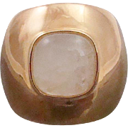 Bold Gold Plated Sterling Silver Bezel Set Natural Moonstone Gemstone Ring