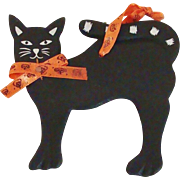 Vintage Primitive Halloween Black Hand Painted Cat Decoration