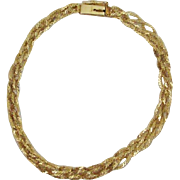 14K Gold Thick Quadruple ~ Four Braided Serpentine Chain Bracelet