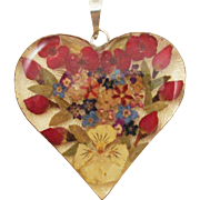 Dried Flower Epoxy Puffy Heart Sterling Silver Pendant