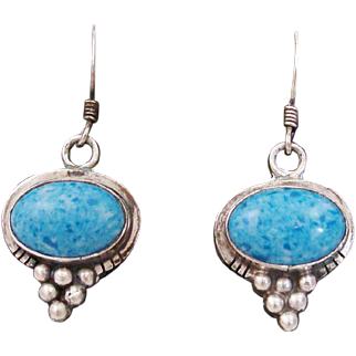 Navajo Native American Signed Turquoise & Sterling Silver Drop Earrings