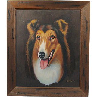 Artist Signed Collie Dog Head Study Framed Oil Paining on Canvas