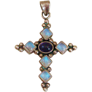 Natural Moonstone & Amethyst Gemstone Sterling Silver Cross Pendant