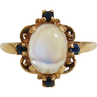 14K Gold Natural Moonstone & Sapphire Estate Ring