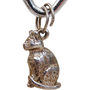 Adorable Sterling Silver Vintage Sitting Kitty Cat Charm