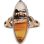 Unique Antique Landscape Agate in Sterling Silver & 10K Gold Filled Clark & Coombs Signed Ring