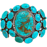1950's Spectacular Navajo Native American Turquoise Cluster & Sterling Silver Cuff Bracelet