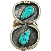 1950's Unique Navajo Native American Turquoise & Sterling Silver Ring