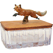Delightful Cold Painted Leaping Fox Handle Trinket Box
