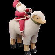 Vintage Santa Claus ~ Old Saint Nick Riding Felt Wooden Stick Leg Sheep Lamb Christmas Collectible