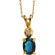 Brilliant Blue Genuine Sapphire & Diamond 14K Gold Pendant & Chain Necklace Set
