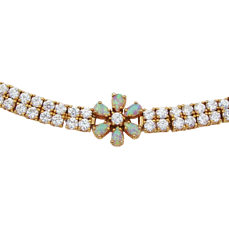 Gold over Sterling Silver Opal Flowers & Cubic Zirconia Tennis Bracelet