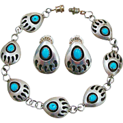 Native American Navajo Signed Turquoise & Sterling Silver Bear Claw Shadow Box Design Bracelet & Earrings Set